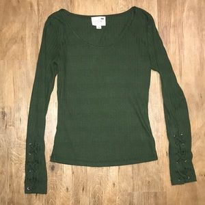 LA HEARTS Green Ribbed Knotted Sleeve Top XS
